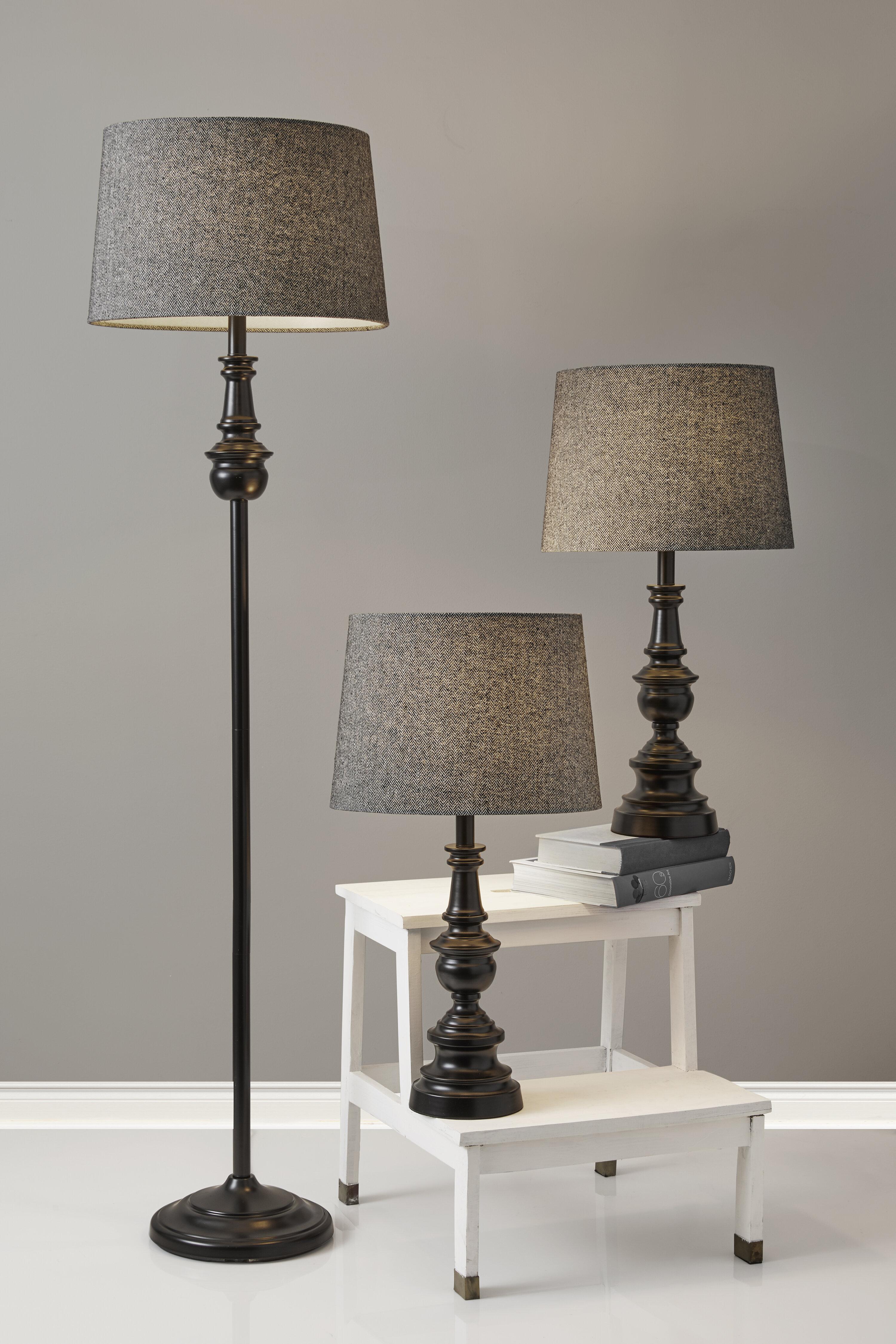 Charlton Home Chiu Black Floor And Table Lamp Set Reviews Wayfair