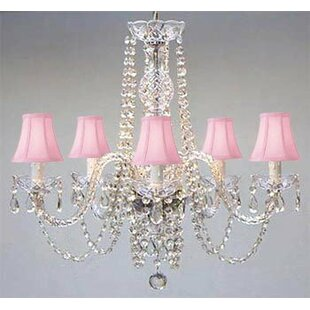 House of Hampton Kawamura Swarovski 5-Light Shaded Chandelier