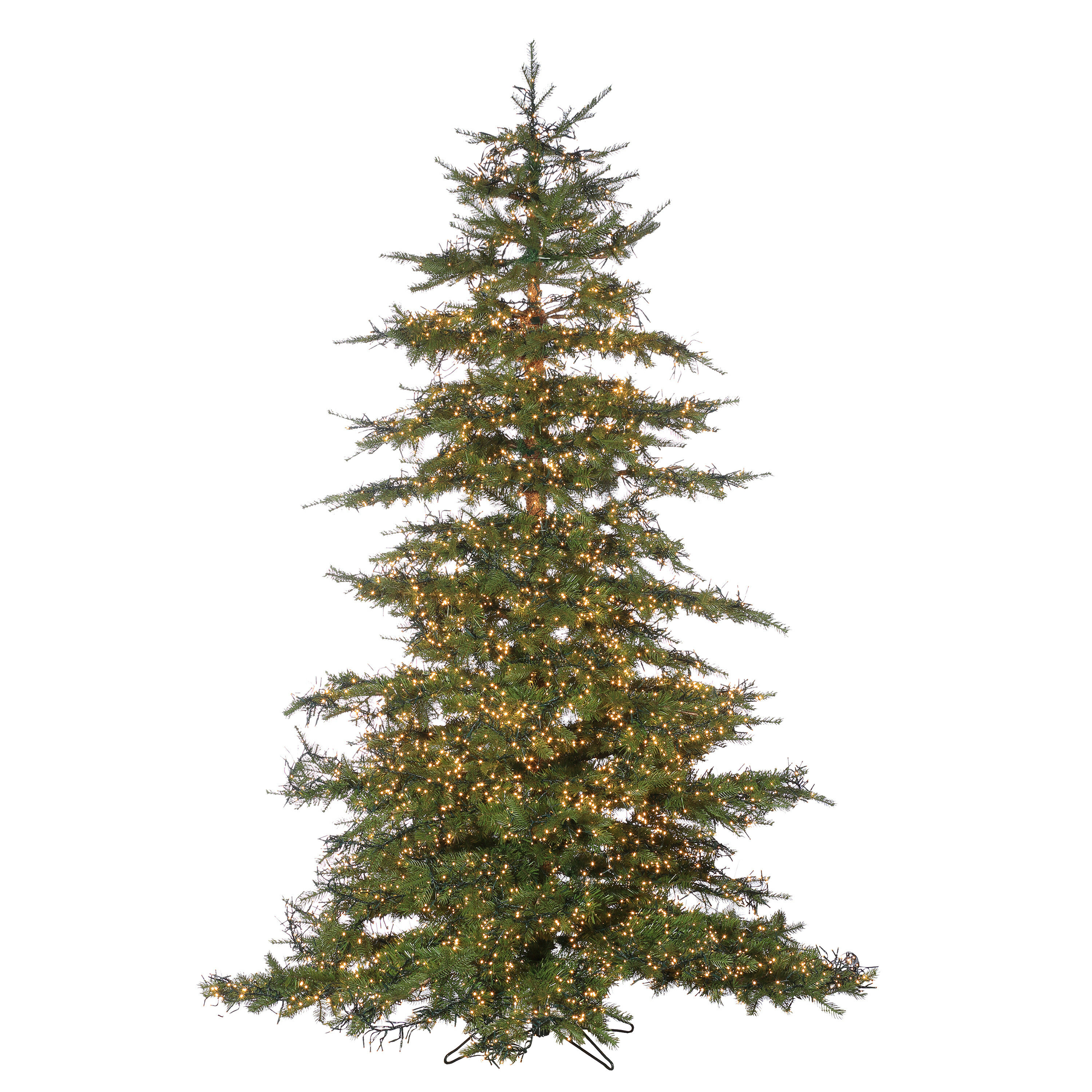 Natural Cut Monaco 7 5 Green Pine Artificial Christmas Tree With 8032 Warm White Led Lights With Stand