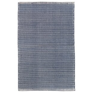 Herringbone Polypropylene Denim Blue/Ivory Indoor/Outdoor Area Rug