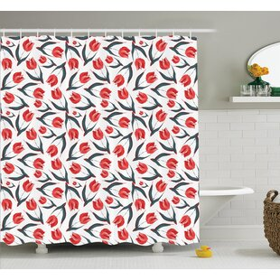 Vintage Inspired Tulips Shower Curtain Set