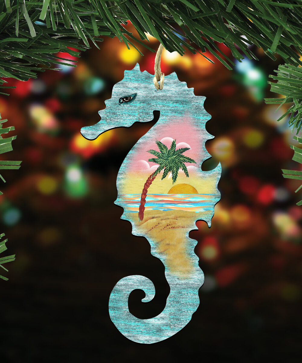 the holiday aisle seahorse scenic hanging figurine wayfair - Seahorse Christmas Ornament
