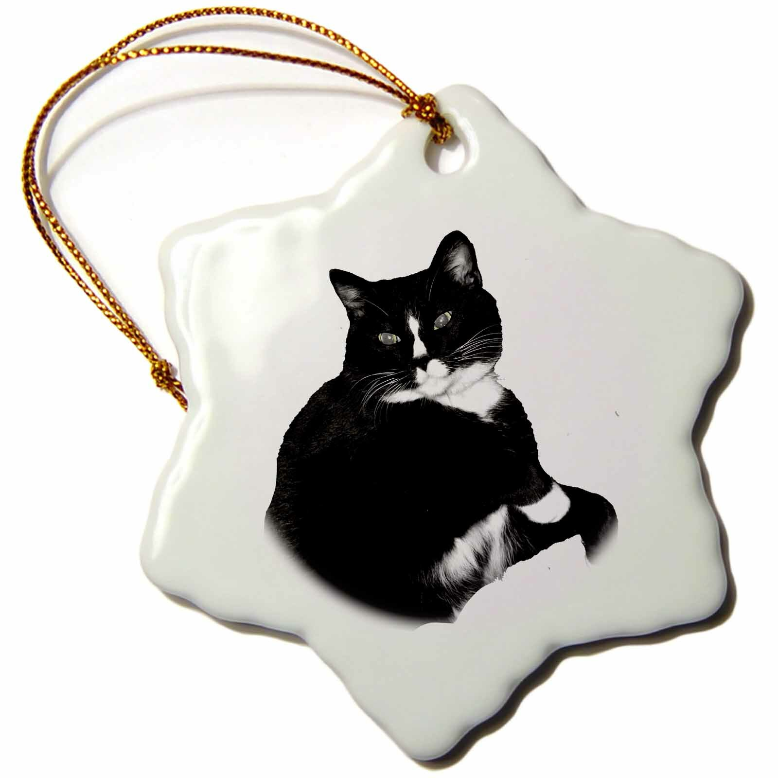 The Holiday Aisle Cat Looking Up Cutout Snowflake Holiday Shaped Ornament Wayfair