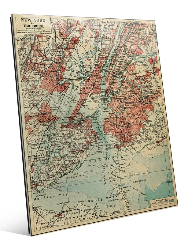 'Vintage New York Map' Graphic Art