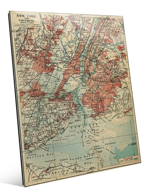 'Vintage New York Map' Graphic Art