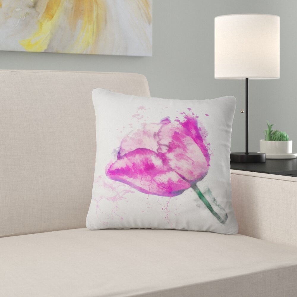 East Urban Home Floral Lily Flower Sketch Watercolor Throw Pillow Wayfair