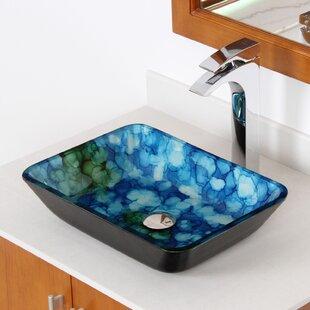Best Reviews Hand Painted Watercolor Flat Bottom Glass Circular Vessel Bathroom Sink ByElite