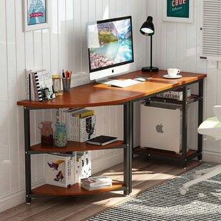 Beesley Corner Computer Desk With Bookshelf
