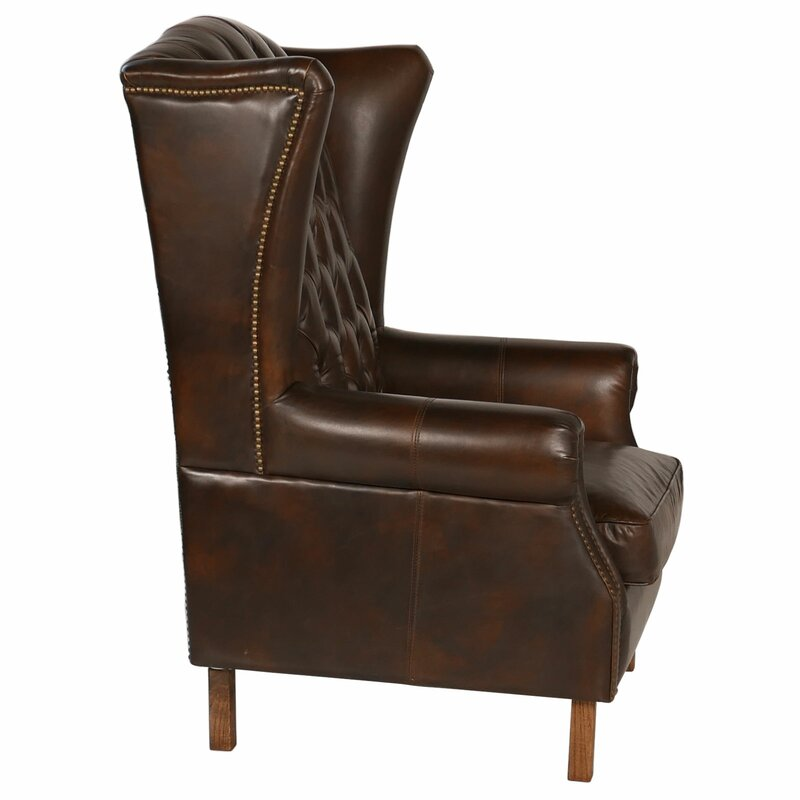 Old World Antique Leather Wingback Chair - Joseph Allen Old World Antique Leather Wingback Chair Wayfair