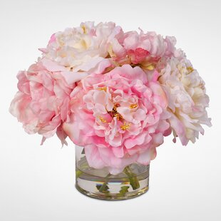 Silk French Peonies Bouquet Fl Arrangement In Gl Vase
