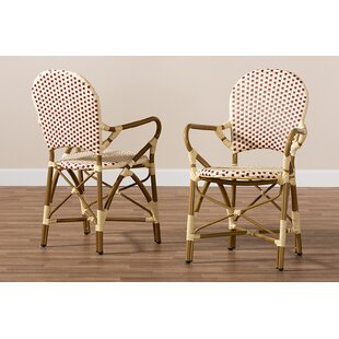Mari Bamboo Stacking Patio Dining Chair (Set of 2)