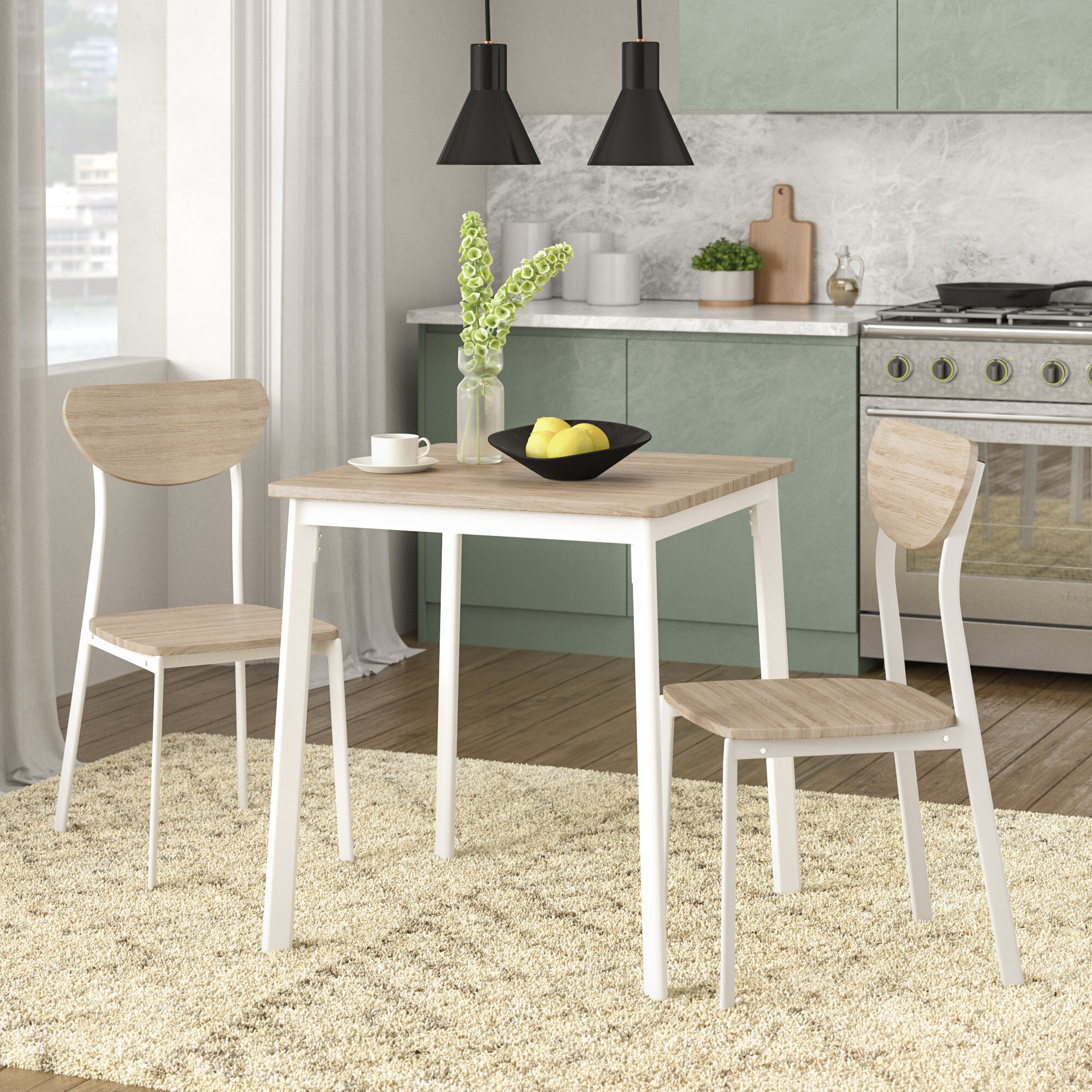 Fjorde Co Amanda Dining Set With 2 Chairs Reviews Wayfair Co Uk