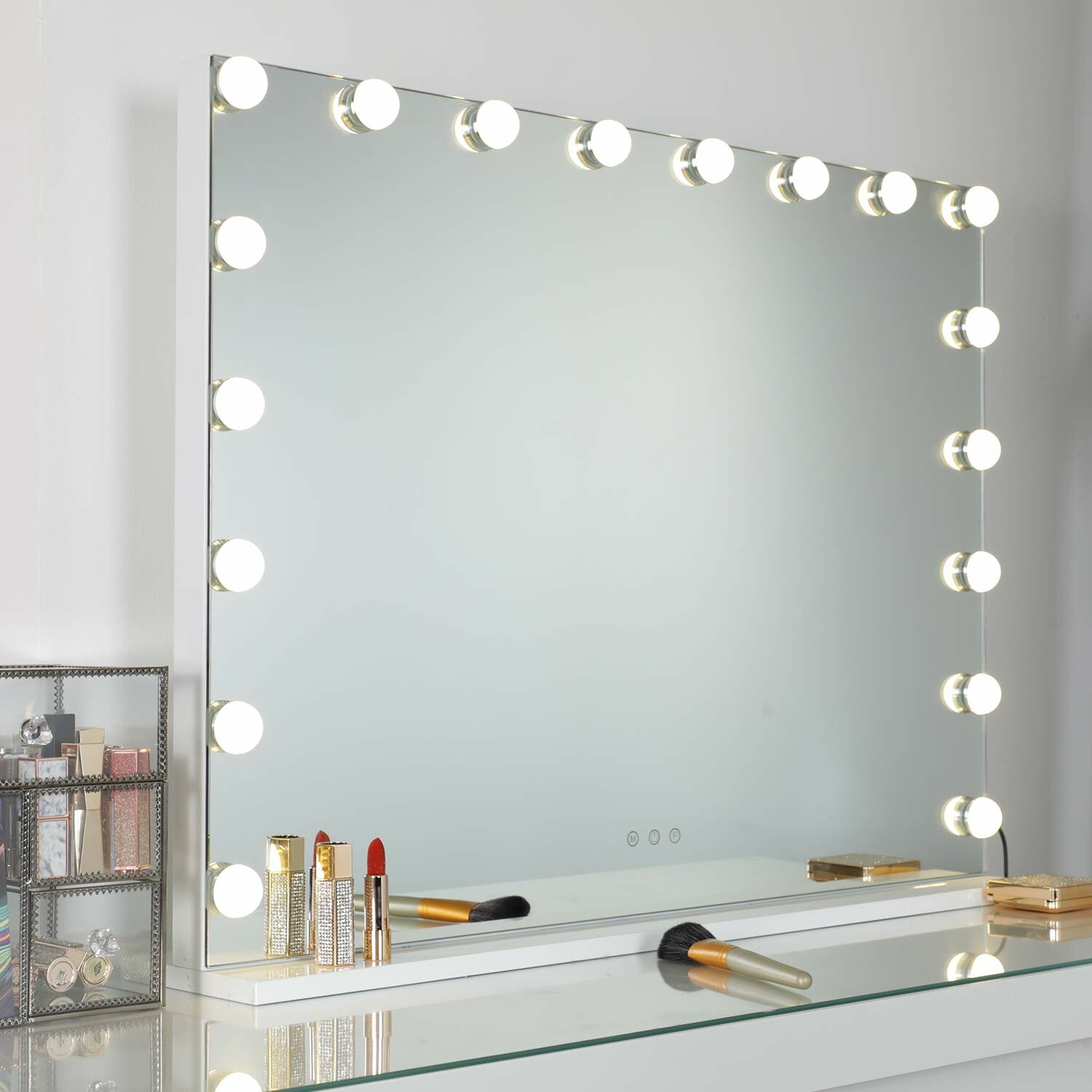 Rosdorf Park Freestanding Wall Mounted Large Dimmable Led Hollywood Vanity Mirror With Lights And Usb Charging Port For Dressing Room Reviews Wayfair Ca