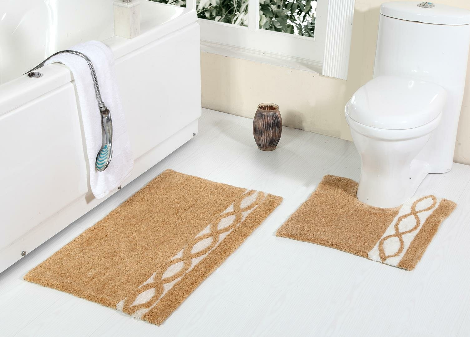 3 Piece Soft Area Rug Sets Includes House On The Hill Bathroom Mat Contour Rug Lid Toilet Cover for Bedroom Bathroom Kitchen Floor Mats Shower Rugs Set