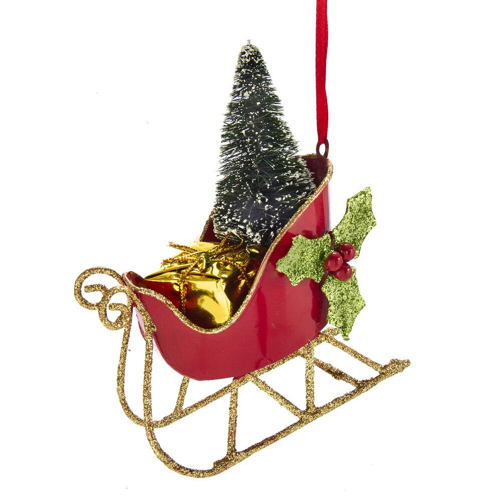 Kurt Adler Plastic Sleigh With Tree Hanging Figurine Ornament Reviews Wayfair