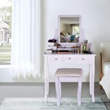 Giunta Vanity Set with Stool and Mirror by Rosdorf Park