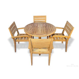 Brayden Studio Cronk 5 Piece Teak Dining Set with Cooler Insert