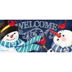 Snowman Welcome Sassafras Switch Doormat