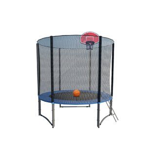 Exacme Net Ladder Basketball Hoop 8' Round Trampoline with Safety Enclosure