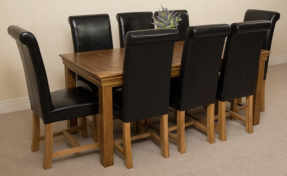 Greenwald Solid Oak Dining Set with 8 Washington Chairs