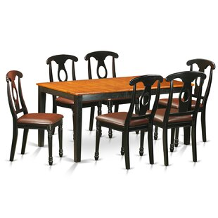 Pillar Traditional 7 Piece Dining Set with Rectangular Table Top August Grove