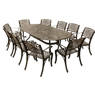 Fleur De Lis Living Casillas Outdoor Mesh Lattice 11 Piece Dining Set