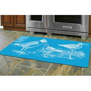 Redeker Turquoise Birds Kitchen Mat
