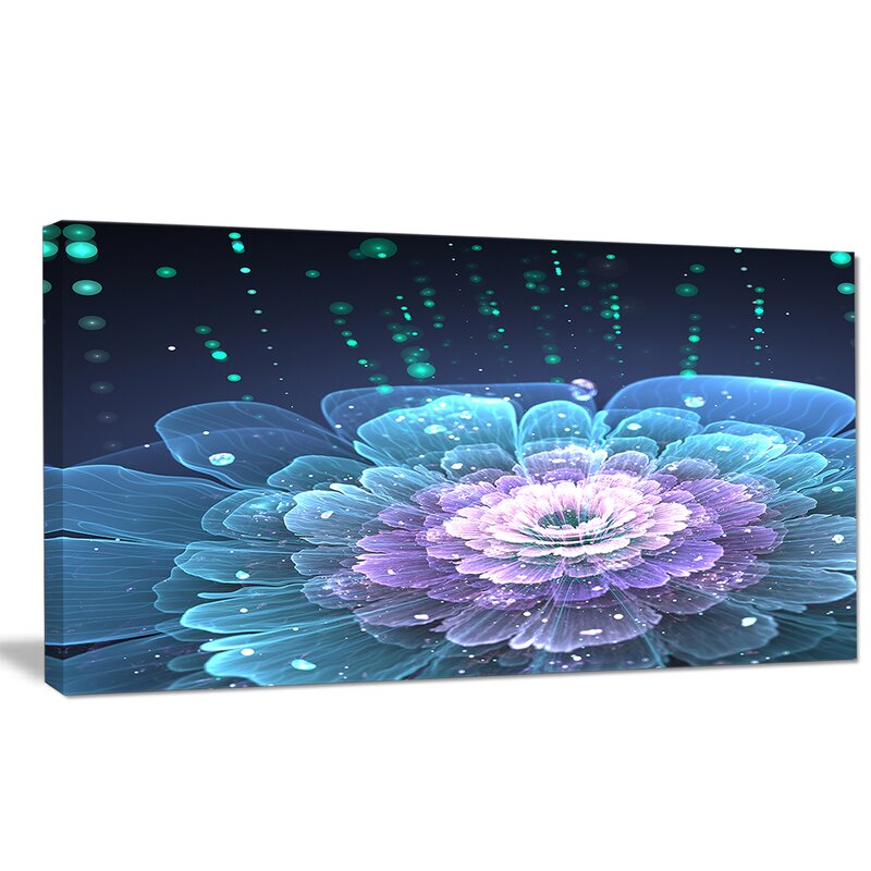 Designart Fractal Flower With Water Drops Graphic Art On Wrapped Canvas Wayfair