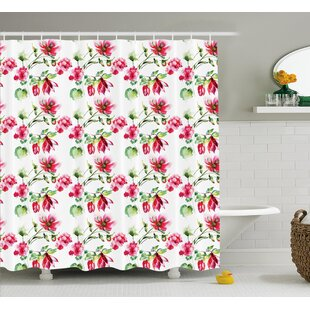 Boutwell Shabby Elegance Floral Details Roses Tulips With Leaves and Buds Colored Print Single Shower Curtain