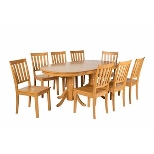 Inwood 9 Piece Extendable Solid Wood Dining Set DarHome Co