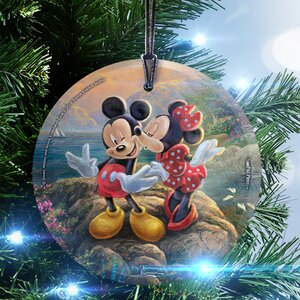 Disney Thomas Kinkade (Mickey and Minnie Sweetheart Cove) StarFire Prints Glass Hanging Ornament