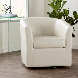 Wilmore Faux Leather Swivel Barrel Chair Photo