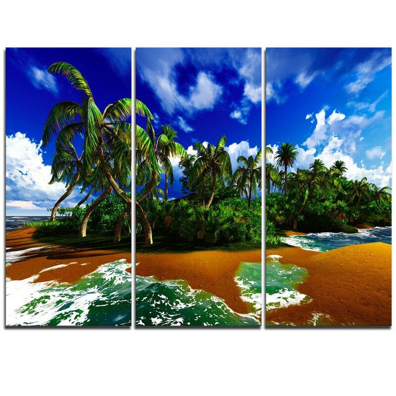 Designart Paradise Beach In Hawaii Island 3 Piece Graphic Art On Wrapped Canvas Set Wayfair