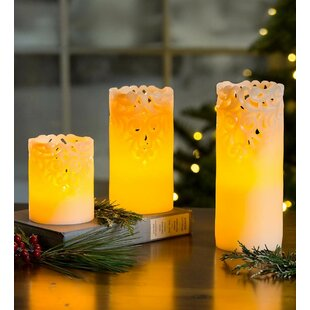 3 Piece LED Unscented Flameless Candle Set