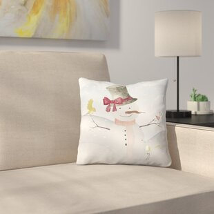 Snowman in Winter Forest with Animal Friends Throw Pillow