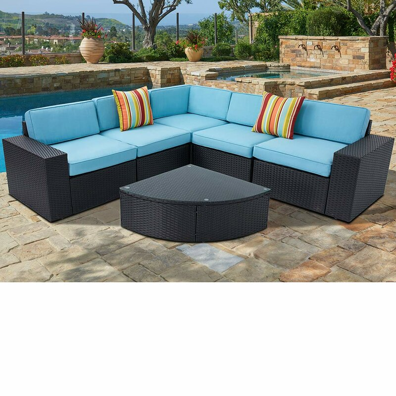 6 Piece Black Wicker Sectional Sofa