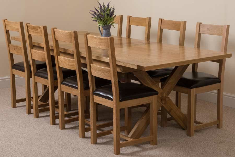 Baldev Kitchen Solid Oak Dining Set with 8 Chairs