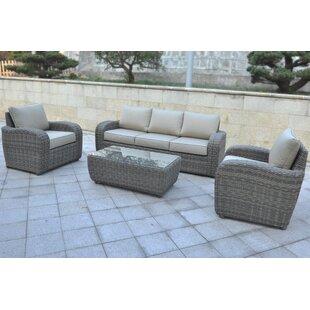 Shondra 4 Piece Rattan Sofa Seating Group