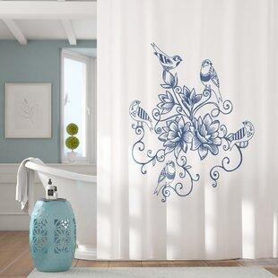 Lark Manor Cecilia Five Little Birds Floral Print Shower Curtain