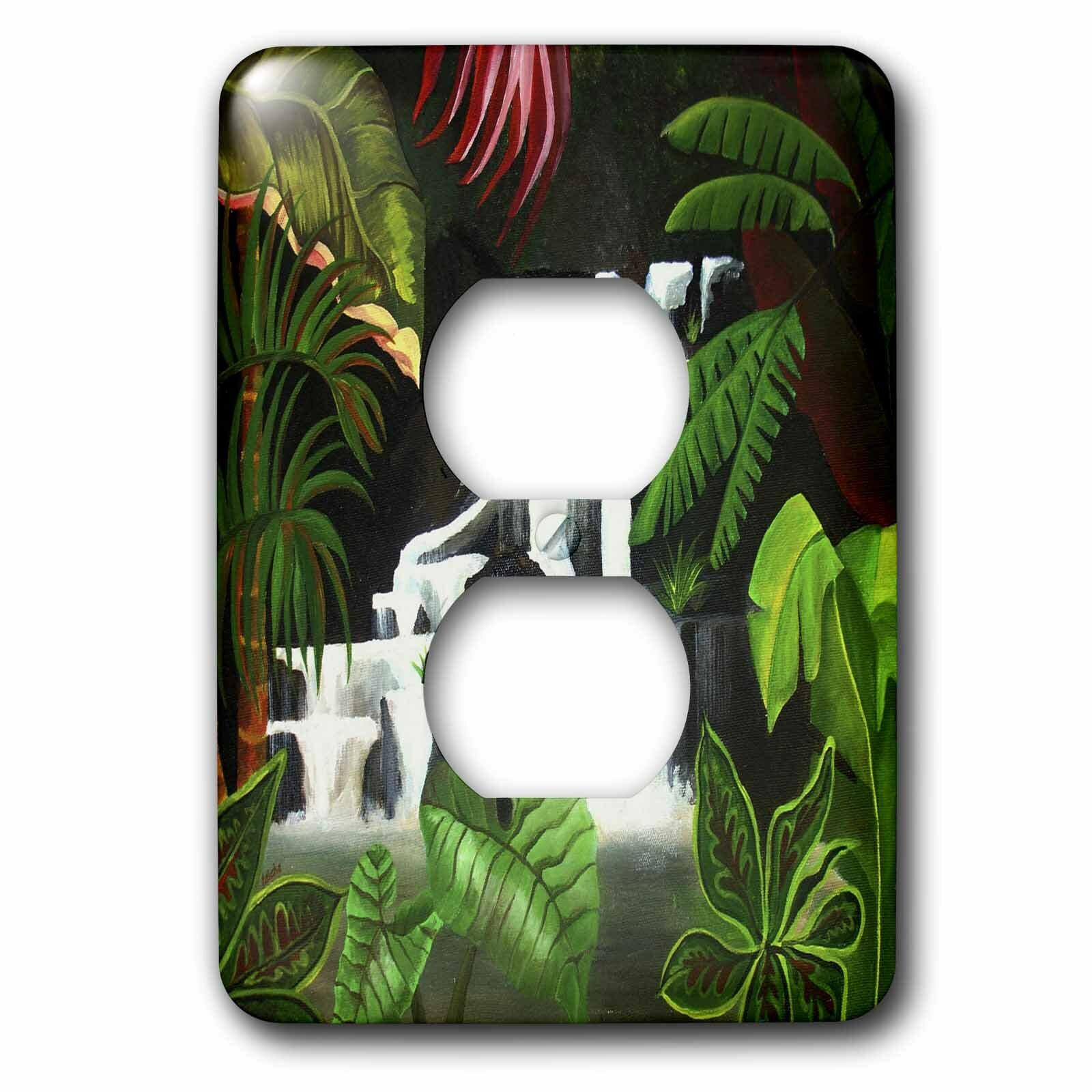 3drose Waterfall Wilderness Cascade Fantasy Forest Green Jungle Landscape River 1 Gang Duplex Outlet Wall Plate Wayfair