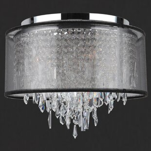 Rosdorf Park Meera 5-Light Flush Mount with Black Organza Shade
