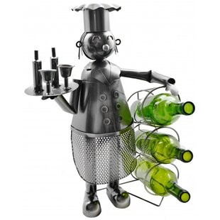 Chef Holding 3 Bottles Tabletop Wine Rack..