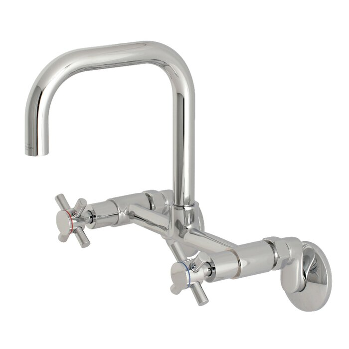 Kingston Brass Ks413c 8 Inch Adjustable Centre Wall Mount Kitchen Faucet Polished Chrome