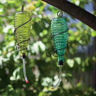 ZiaBella Ribbed Glass Hummingbird Feeder (Set of 2)