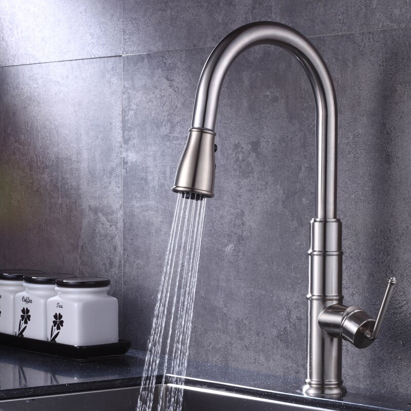 Kbp Home Pull Down Single Handle Kitchen Sink Faucet
