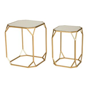 Glass nesting tables youll love wayfair huguley 2 piece nesting tables watchthetrailerfo