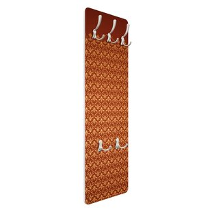 Antique Red/Gold Pattern Wall Mounted Coat Rack By Symple Stuff