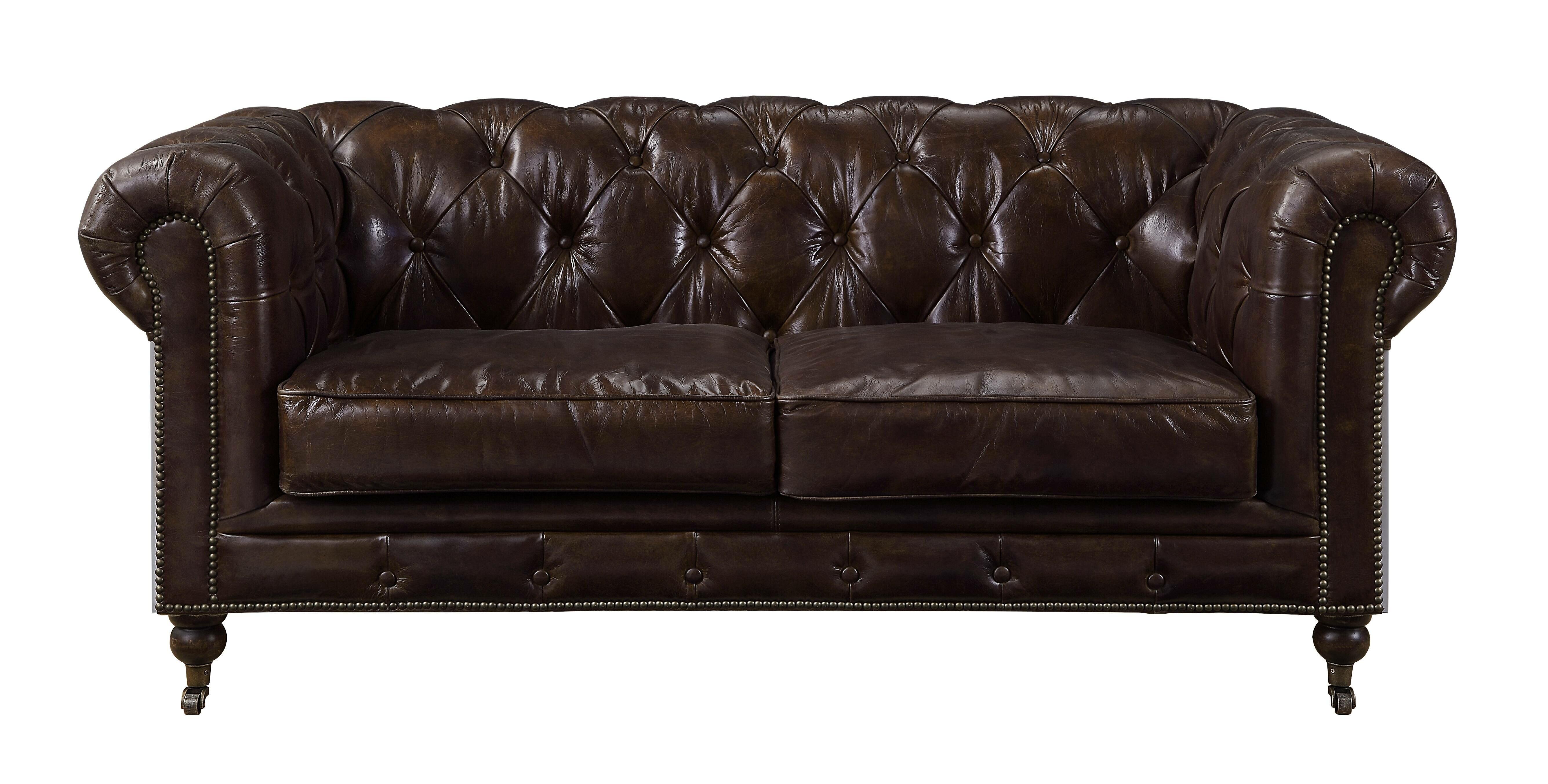 Williston Forge Hayner Genuine Leather Chesterfield 72 Rolled Arm Loveseat Wayfair