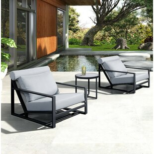 Hornback Outdoor Patio Chair with Cushion by Latitude Run
