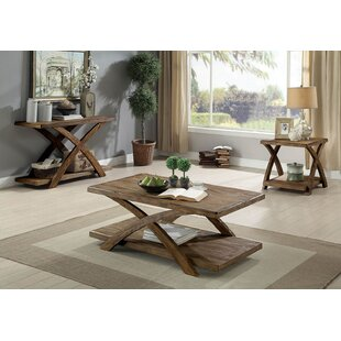 Top Saunders Transitional Wooden 3 Piece Coffee Table Set By Loon Peak